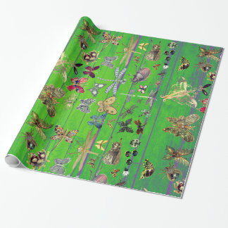 Bright Mint Green Wood Emerald Insects Meadow Wrapping Paper