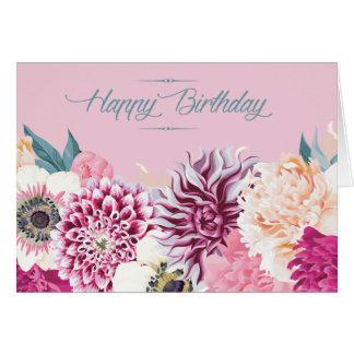 Bright Mixed Bunch Flower Happy Birthday Card