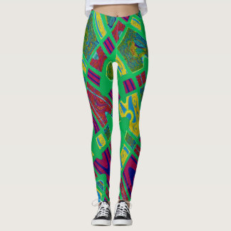 Bright Mod Green Red Yellow Abstract Leggings