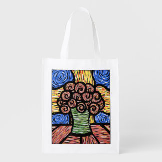Bright Modern Abstract Flowers Reusable Grocery Bag