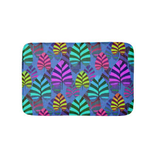 Bright Modern Leaf Pattern 437 Bathroom Mat