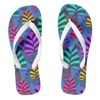 Bright Modern Leaf Pattern 437 Flip Flops