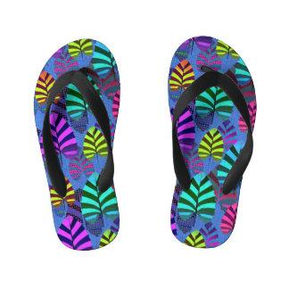 Bright Modern Leaf Pattern 437 Kid's Flip Flops