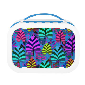 Bright Modern Leaf Pattern 437 Lunch Box