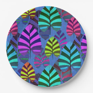 Bright Modern Leaf Pattern 437 Paper Plate