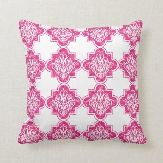 Bright Modern Vintage Arabesque Tile Pattern Pink Throw Pillow