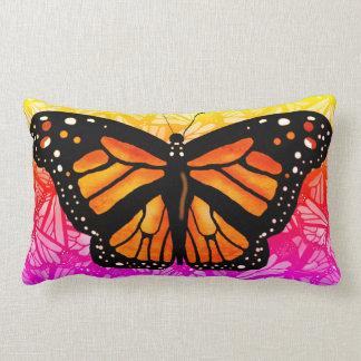 BRIGHT MONARCH BUTTERFLY PATTERN by Slipperywindow Lumbar Pillow