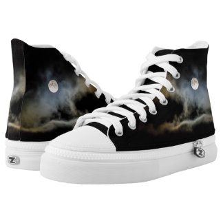Bright moon and clouds on high tops