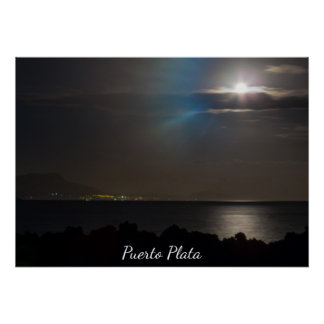 Bright Moon Over The Ocean Poster