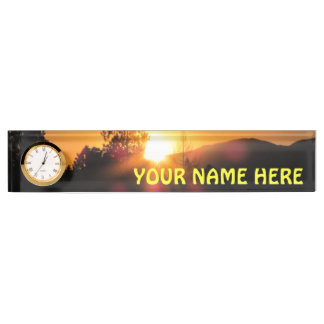 Bright Mountain Sunset with your name Nameplate