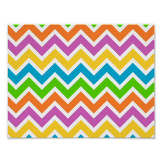 Bright Multi Color Chevron Poster