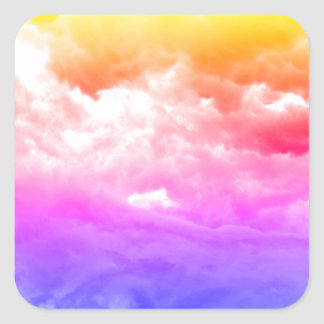 Bright Multi-Colored Cloud Square Sticker