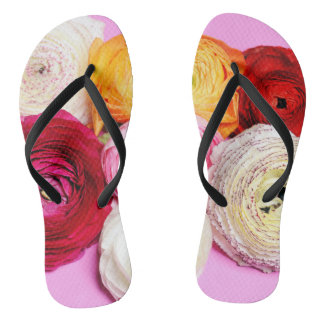 bright multi colored petals flip flops