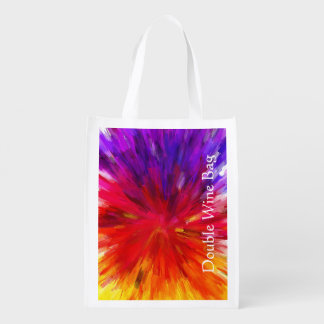 Bright, Multicolored Abstract Red And Purple Reusable Grocery Bag