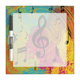 Bright Music Notes on Explosion of Color Dry Erase Whiteboard