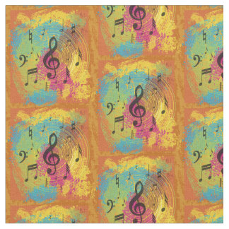 Bright Music Notes on Explosion of Color Fabric