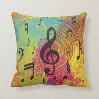 Bright Music Notes on Explosion of Color Throw Pillow