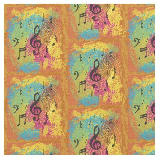Bright Music Notes on Explosion of Colour Fabric