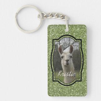 Bright N Sparkling Llama in Green Keychain