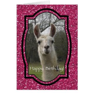 Bright N Sparkling Llama in Hot Pink Card