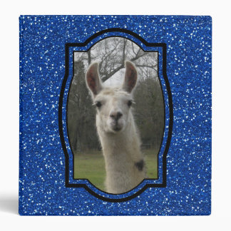 Bright N Sparkling Llama in Royal Blue Vinyl Binder