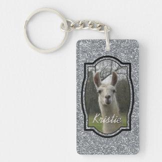 Bright N Sparkling Llama in Silver Double-Sided Rectangular Acrylic Keychain