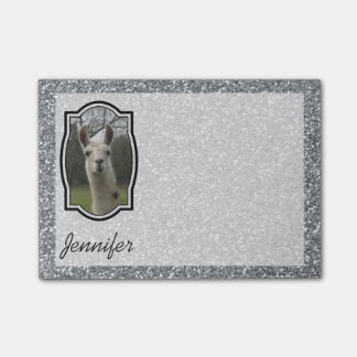 Bright N Sparkling Llama in Silver Post-it Notes