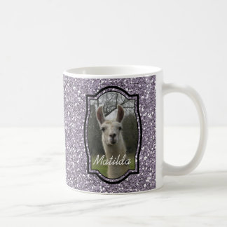 Bright N Sparkling Llama in Smokey Lavender Coffee Mug