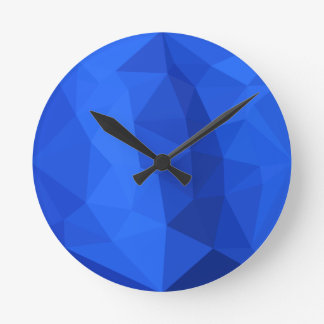 Bright Navy Blue Abstract Low Polygon Background Wall Clocks