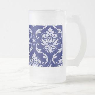 Bright Navy Blue Damask Pattern Frosted Glass Beer Mug