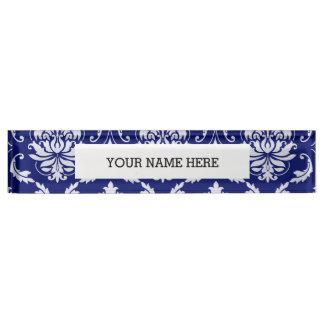 Bright Navy Blue Damask Pattern Nameplate