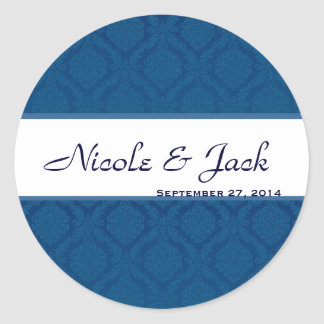 BRIGHT NAVY BLUE Diamond Damask Wedding Sticker