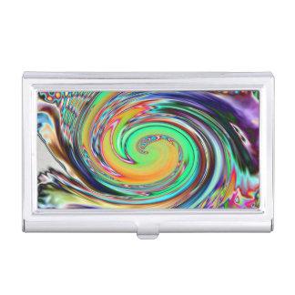 Bright Neon Abstract Vortex Swirls Business Card Holder