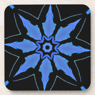 Bright Neon Blue Star Shaped Pattern Drink Coaster