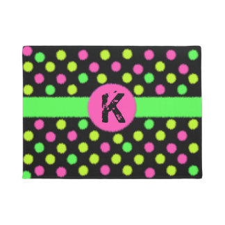 Bright Neon Colored Polka Dot Monogram Door Mat