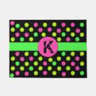 Bright Neon Coloured Polka Dot Monogram Door Mat