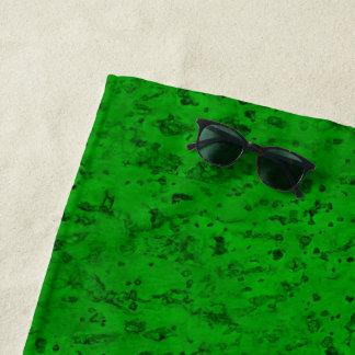 Bright Neon Green Cork Bark Look Wood Grain Beach Towel