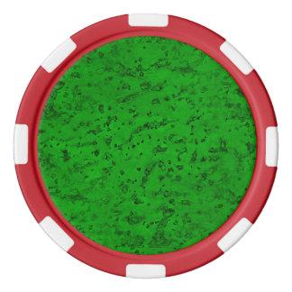 Bright Neon Green Cork Bark Look Wood Grain Poker Chips Set