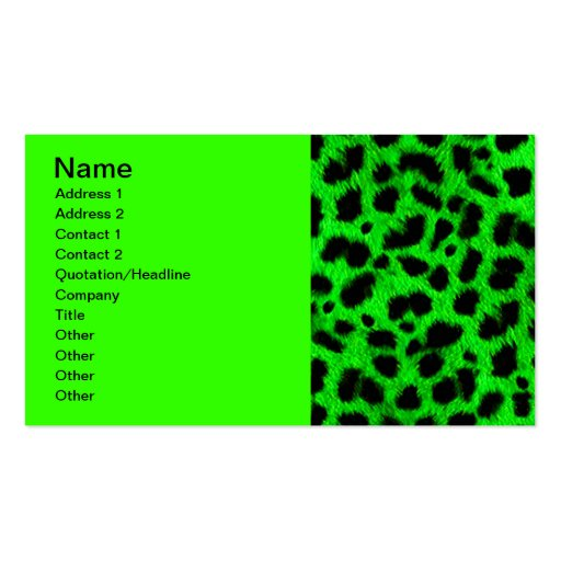 BRIGHT NEON GREEN LIME BLACK ANIMAL PRINT PATTERN BUSINESS CARD TEMPLATES