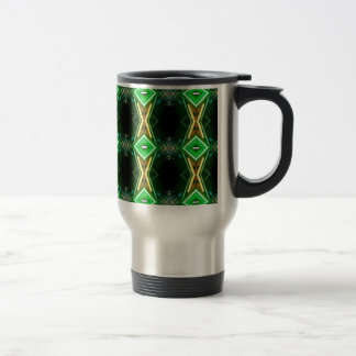Bright Neon Green Tribal Diamond Pattern 15 Oz Stainless Steel Travel Mug
