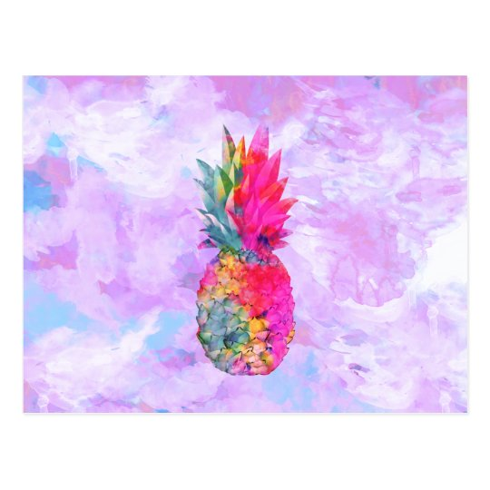 Bright Neon Hawaiian Pineapple Tropical Watercolor Postcard