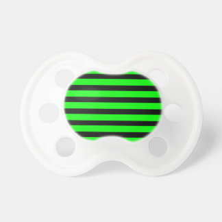 Bright Neon Lime Green and Black Stripes Baby Pacifiers