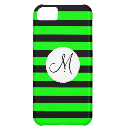 Bright Neon Lime Green and Black Stripes Cover For iPhone 5C