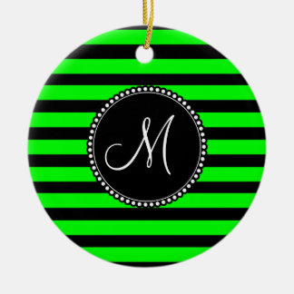 Bright Neon Lime Green and Black Stripes Ceramic Ornament