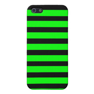 Bright Neon Lime Green and Black Stripes iPhone 5/5S Cases