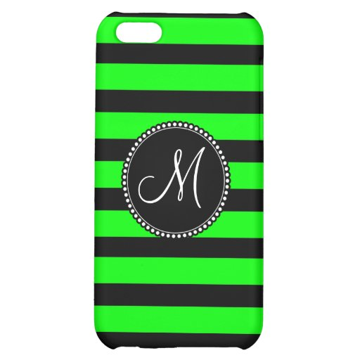 Bright Neon Lime Green and Black Stripes iPhone 5C Covers