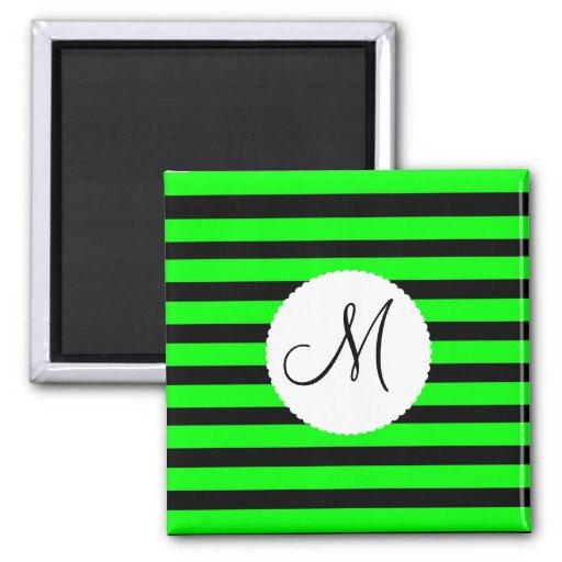 Bright Neon Lime Green and Black Stripes Fridge Magnet