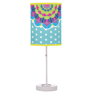 Bright Neon Mandalas & White Polka Dots Table Lamp