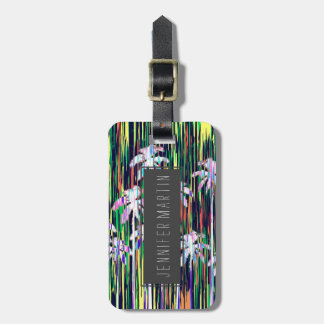 Bright Neon Multi-Colored Palm Trees and Stripes Luggage Tag