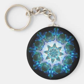 Bright Neon Starburst Kaleidoscope in Blue Keychain
